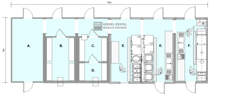 Mobiele Werktafel Keuken : en vriesruimte (D), warme keuken/kooleiland (E) en spoelkeuken (F