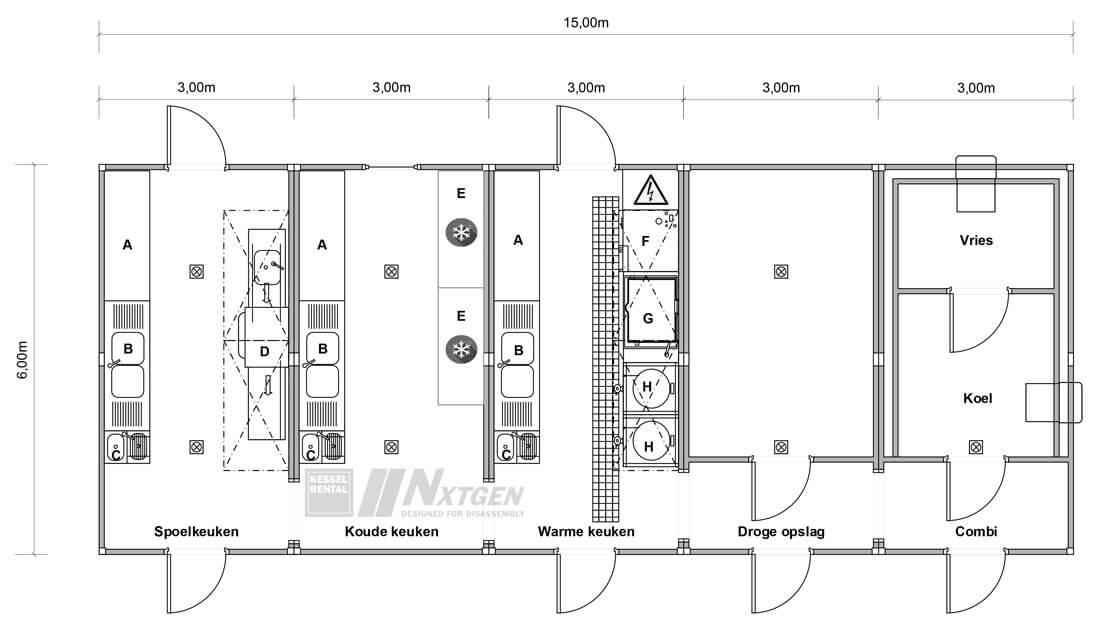 Plattegrond tijdelijke productiekeuken Kessel Rental NxtGen